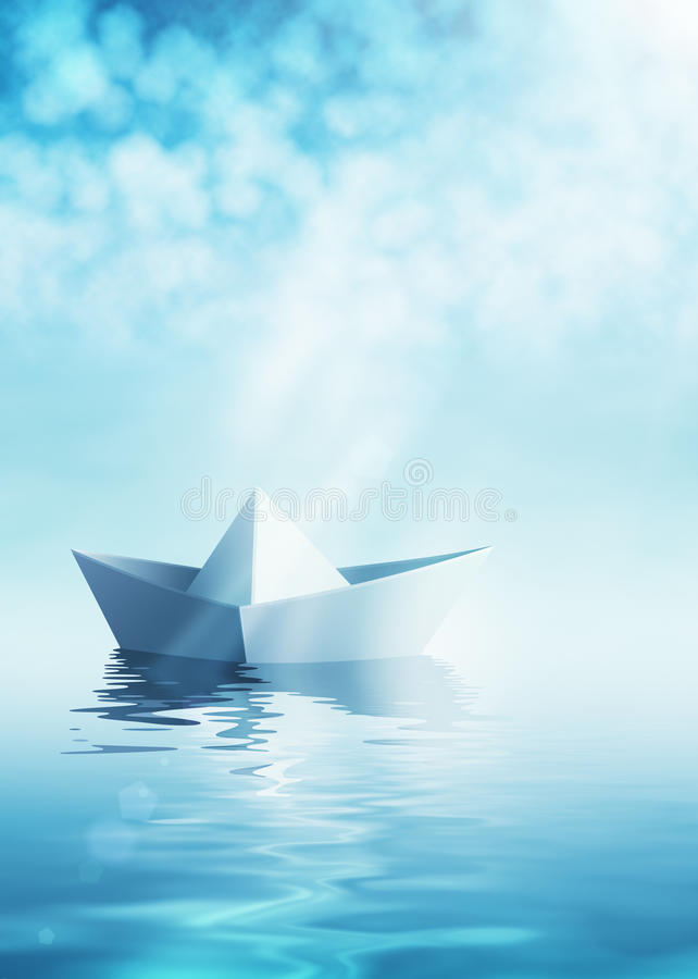 Paper boat on azure water. Paper origami boat on azure water vector illustration