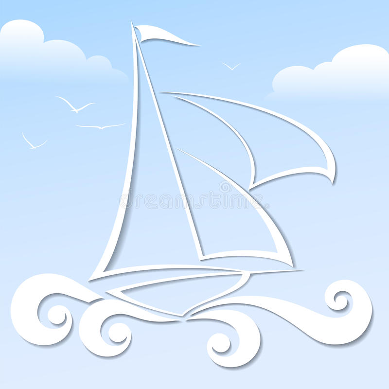Paper boat on the blue background. Paper boat in the blue ocean format royalty free illustration