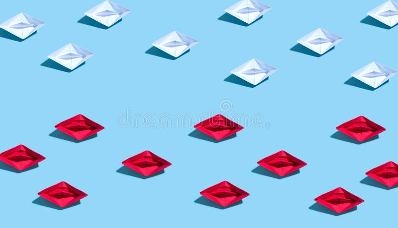 Paper boat in different directions concept vector illustration