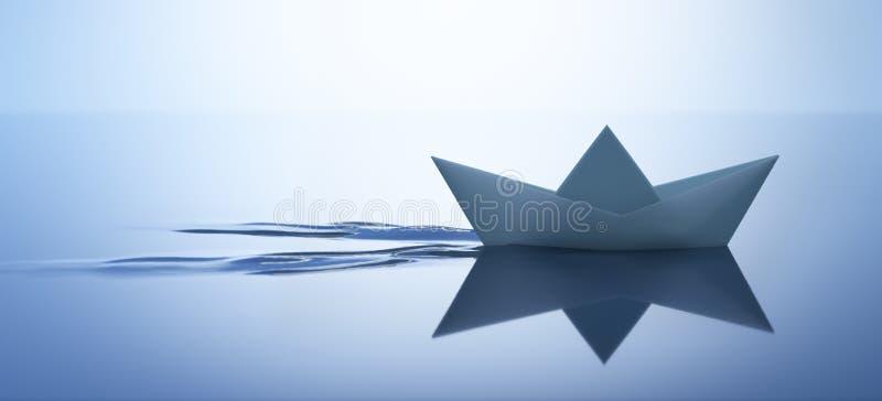 Paper boat in calm water - 3D illustration vector illustration