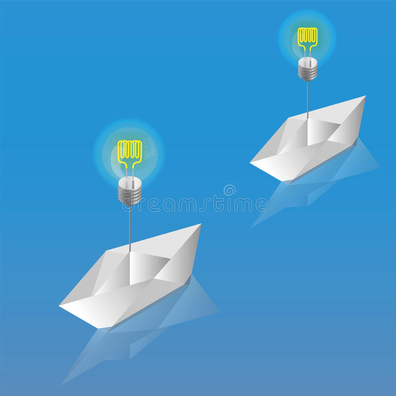Paper Boat hanging on the light bulb. Isometric royalty free illustration