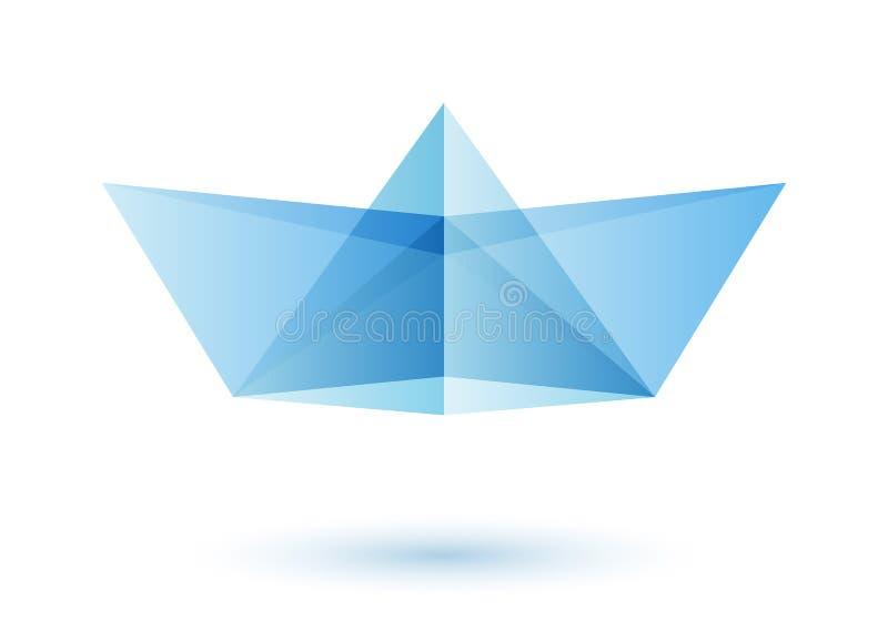 Paper boat logo design idea stock illustration