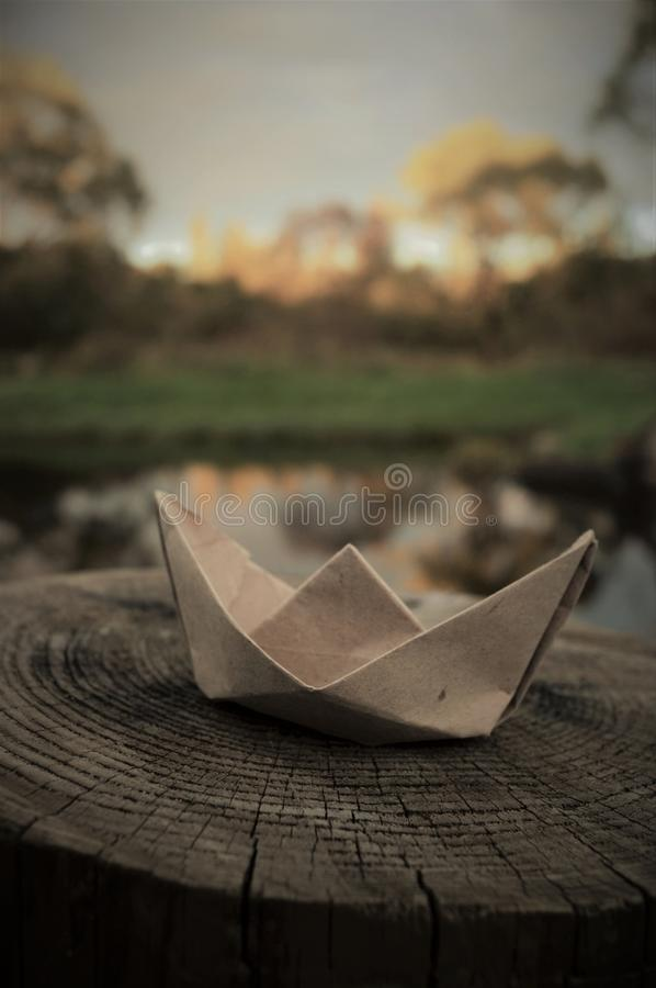 The paper boat royalty free stock photos
