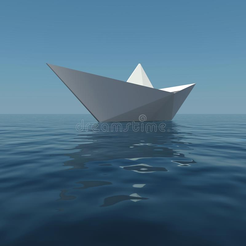 Download Paper boat in the sea stock illustration. Image of rippled - 23654450