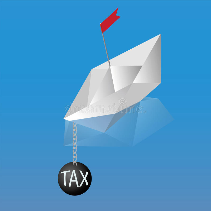 Paper Boat sinks in water with the tax. Paper Boat sinks in water. Kettlebell with the tax stock illustration