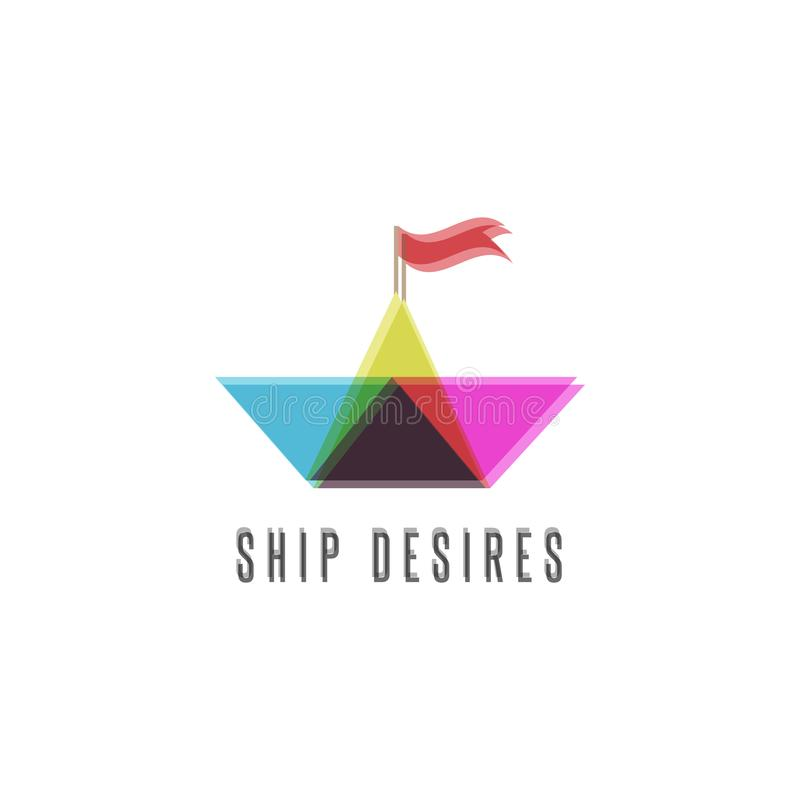 Paper boat travel logo, transparency shift and imposition design element, 3d effect overlay layer, cruise icon stock illustration
