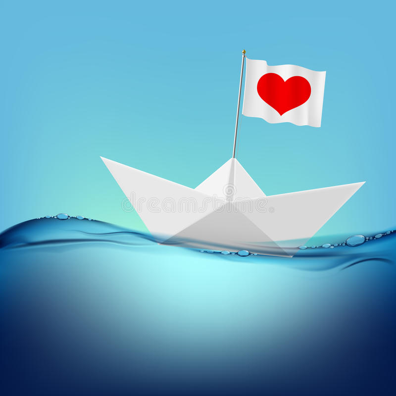 Paper boat. Vector image. Flag with a red heart on a paper boat royalty free illustration