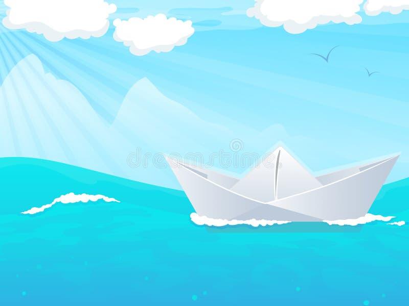 Paper boat in water stock illustration