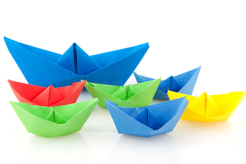 Paper boats royalty free stock photos
