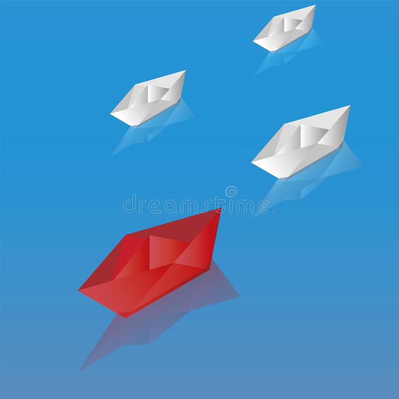 Paper boats leadership concept. Red paper boats, leadership concept isometric vector illustration