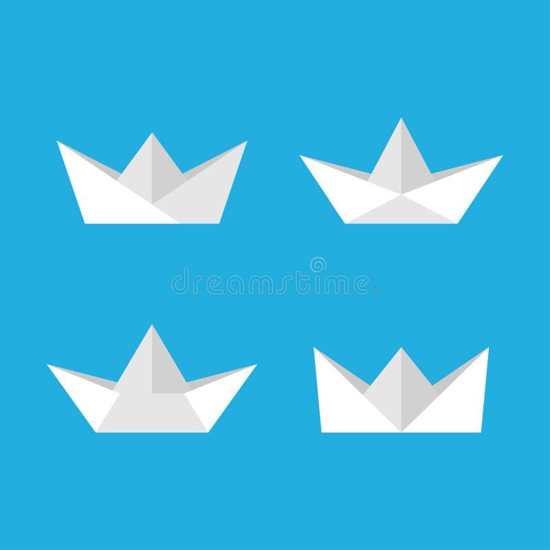 Paper boats vector set vector illustration