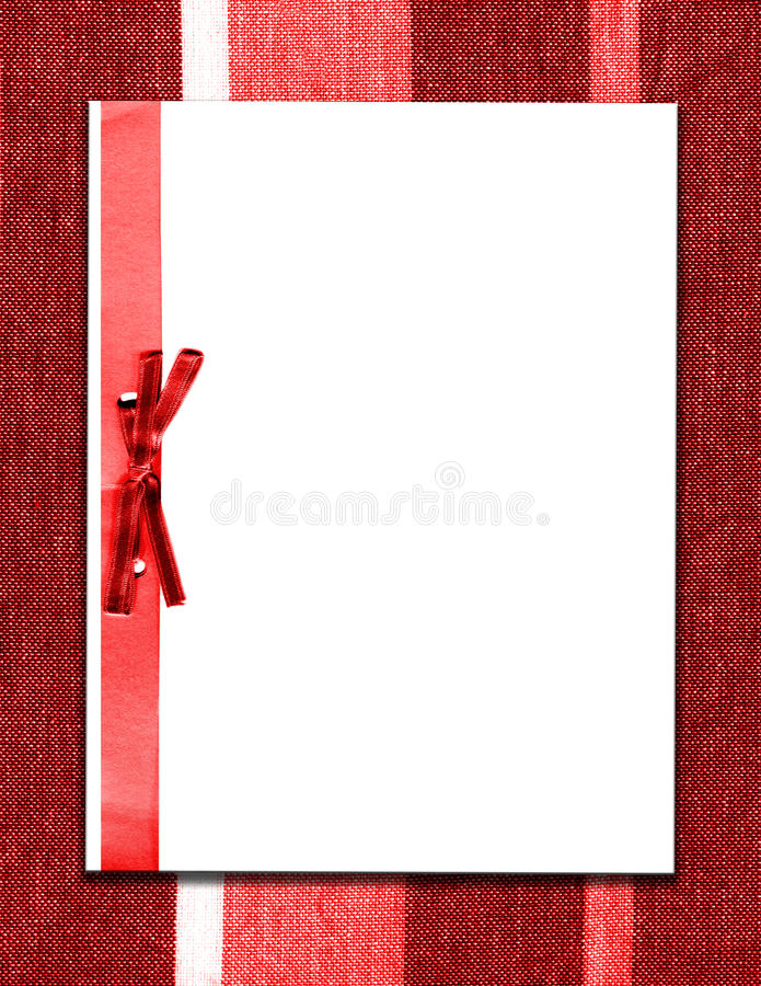 Download Paper And Bow On Red Fabric Stock Image - Image: 15791151