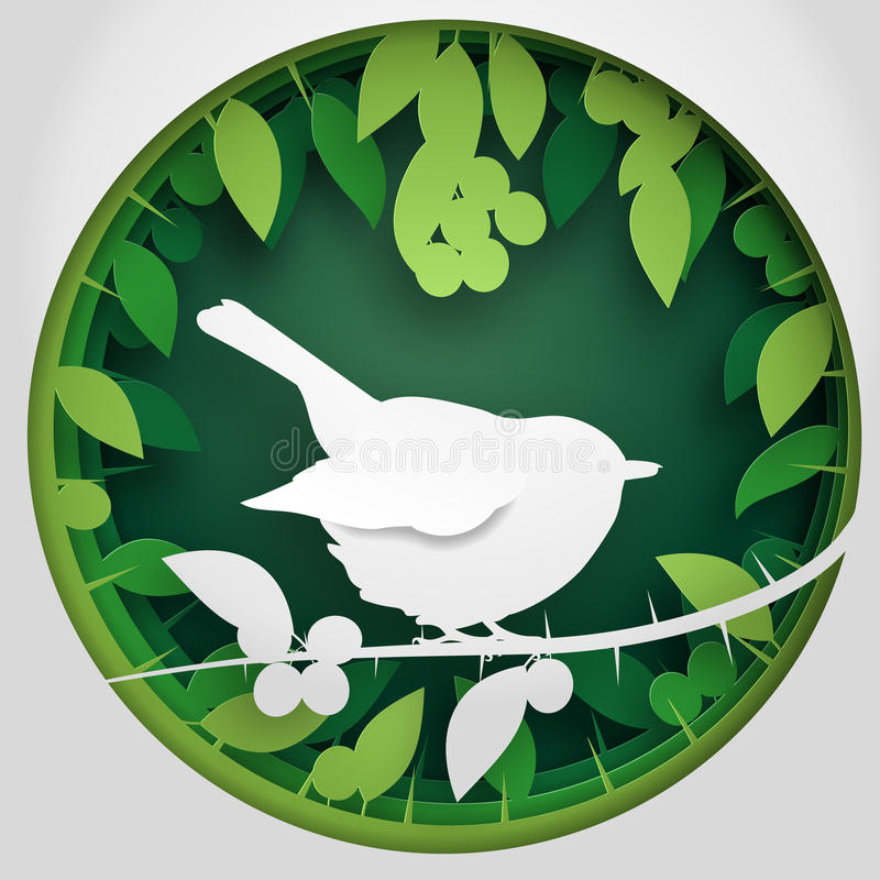 Paper box of shadow to bird on Blackthorn tree branch, vector illustration. Vector illustration Paper box of shadow to bird on Blackthorn tree branch. Concept stock illustration