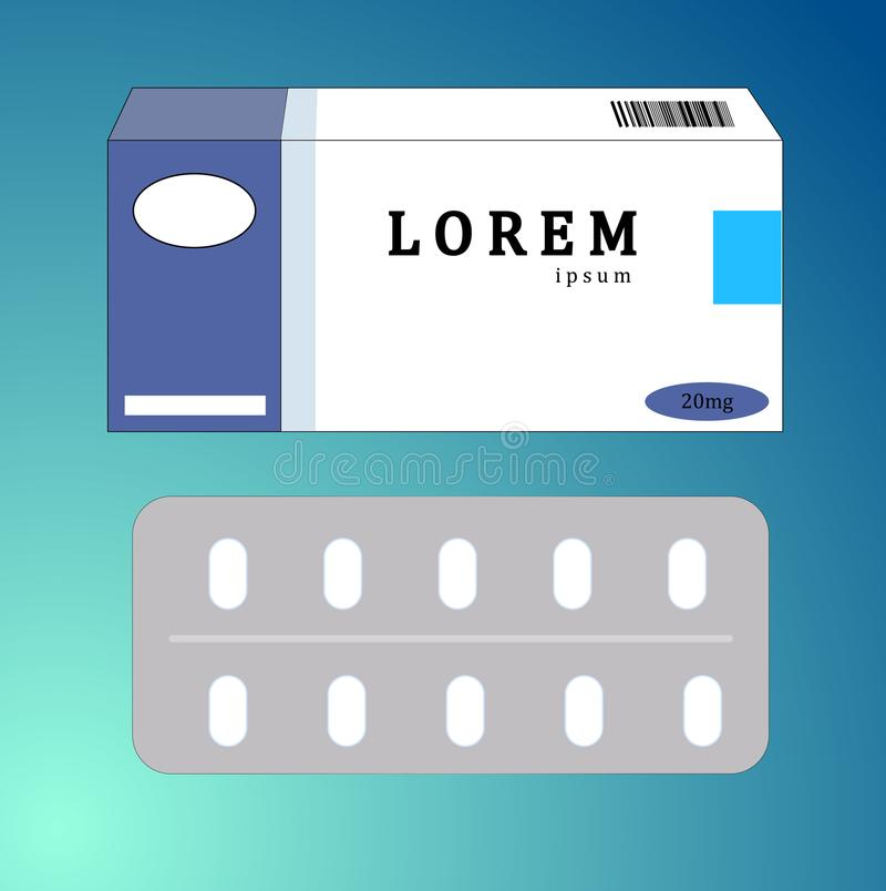 White paper box for tablets and pills stock illustration