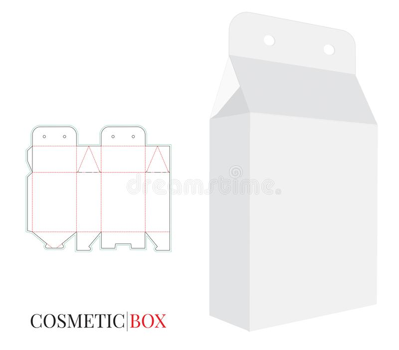 Paper Box, vector with die cut / laser cut layers. Cosmetics Box , white, clear, blank, isolated Box Pack on white background royalty free illustration