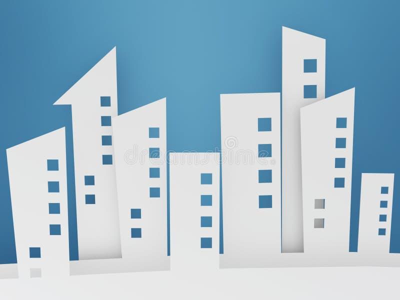 Paper building shapes on blue background stock illustration