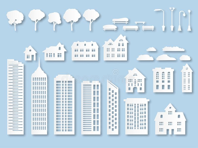 Paper buildings. Origami city houses with windows. Cardboard skyscrapers with lanterns, trees and benches. White paper. Cut vector design exterior town skyline royalty free illustration
