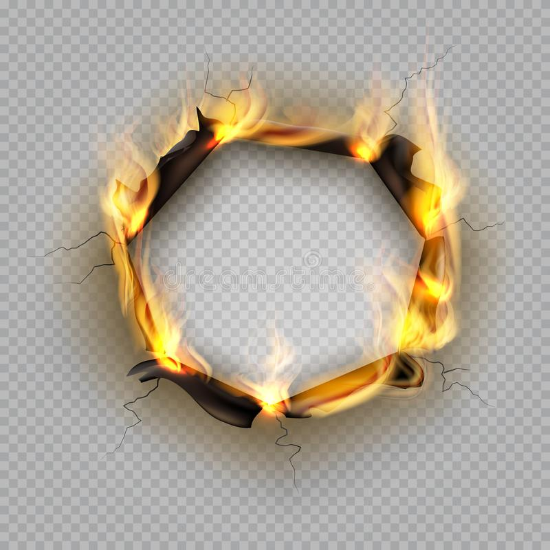 Paper burn hole. Flame edge effect burnt effect torn explode border destroyed page heat cracked frame. Vector paper fire stock illustration