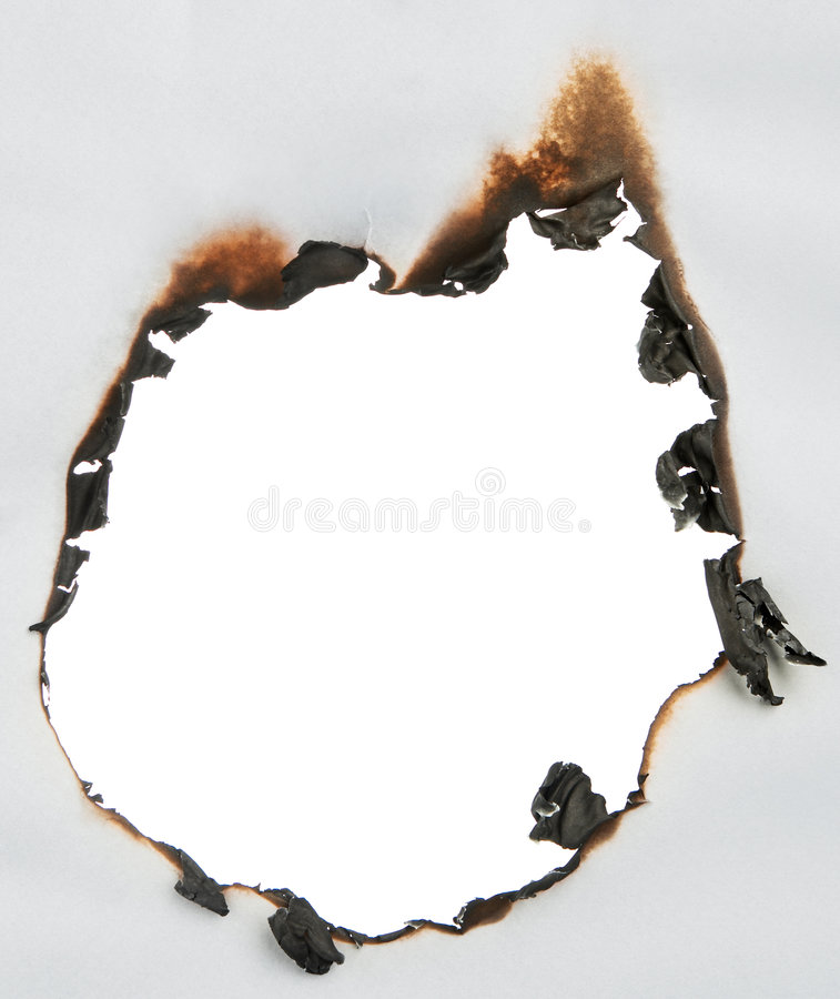 Paper burnt hole stock images