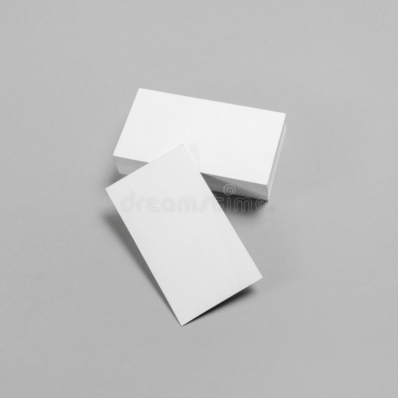 Paper business cards. Blank business cards on paper background. Template for branding identity royalty free stock photography