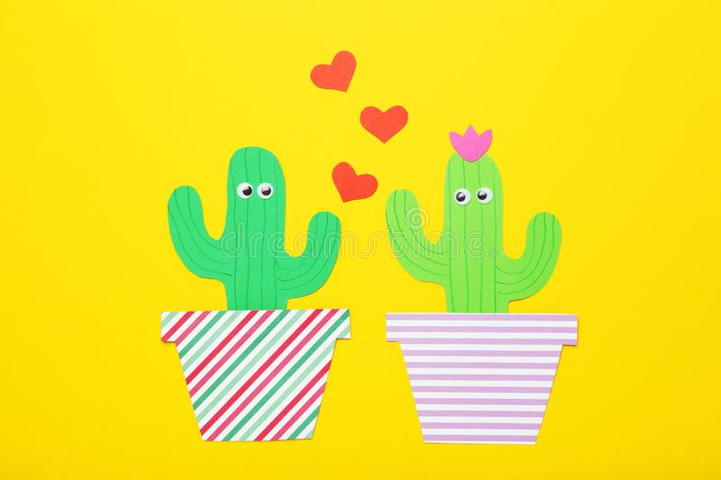 Paper cactuses with hearts royalty free stock photography