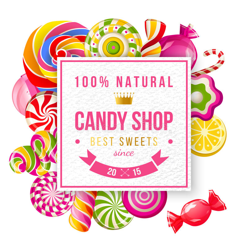 Paper candy shop label with type design. And lollipops and candies royalty free illustration