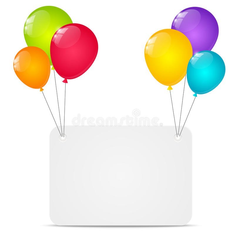 Paper card with balloons stock illustration