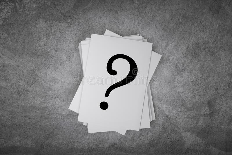 Paper card on a concrete table with question mark sign with free space. 3d rendering stock illustration
