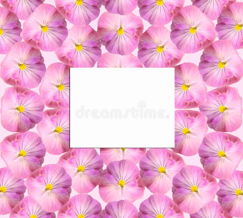 Paper card on a floral background stock image