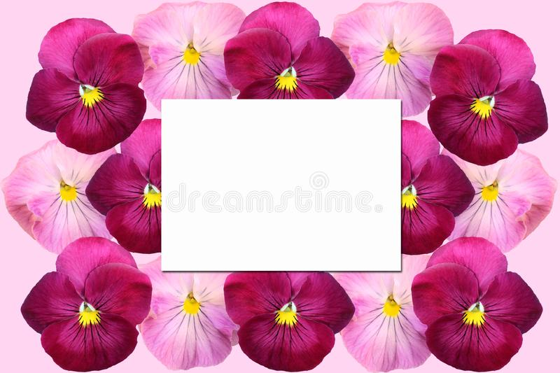 Paper card on a floral background stock photo