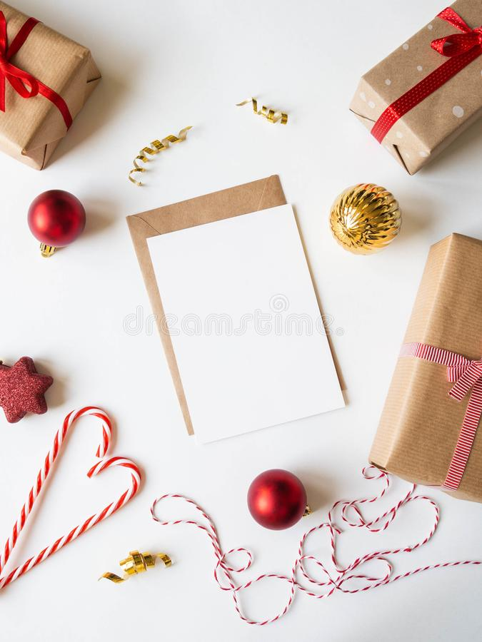 Paper card for letter, envelope and xmas decoration. Flat lay for Merry Christmas or Happy New Year. top view. Copy space stock photography