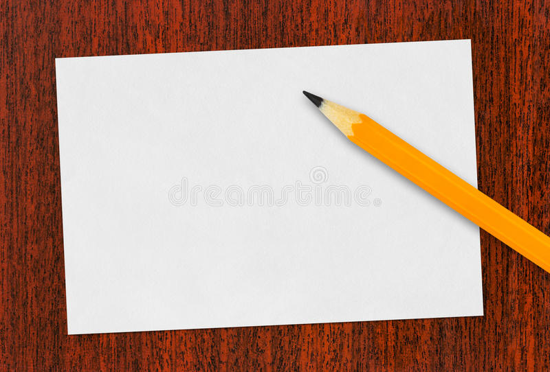 Paper card and pencil