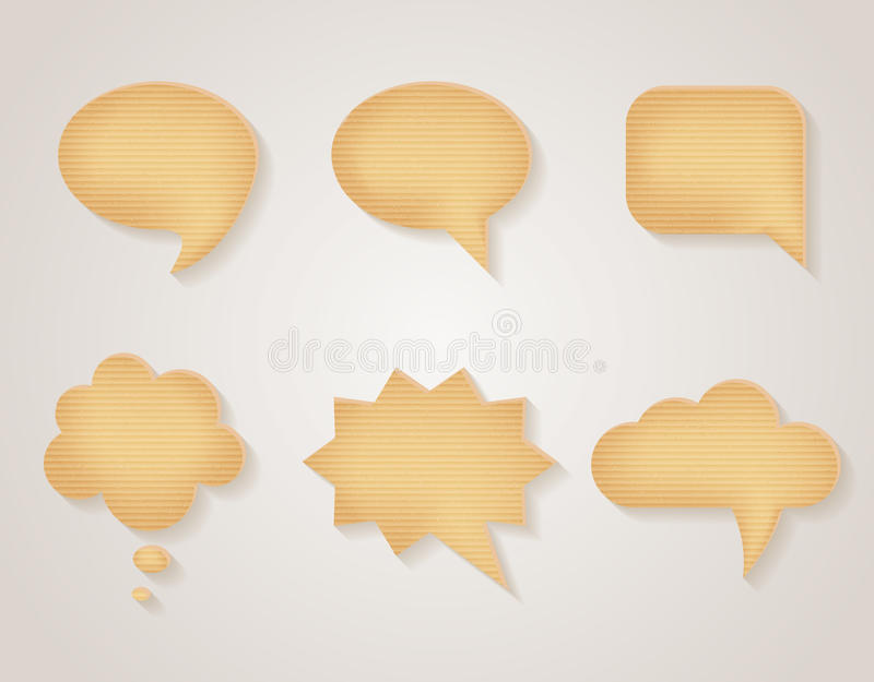 Paper cardboard vector speech bubbles set royalty free illustration