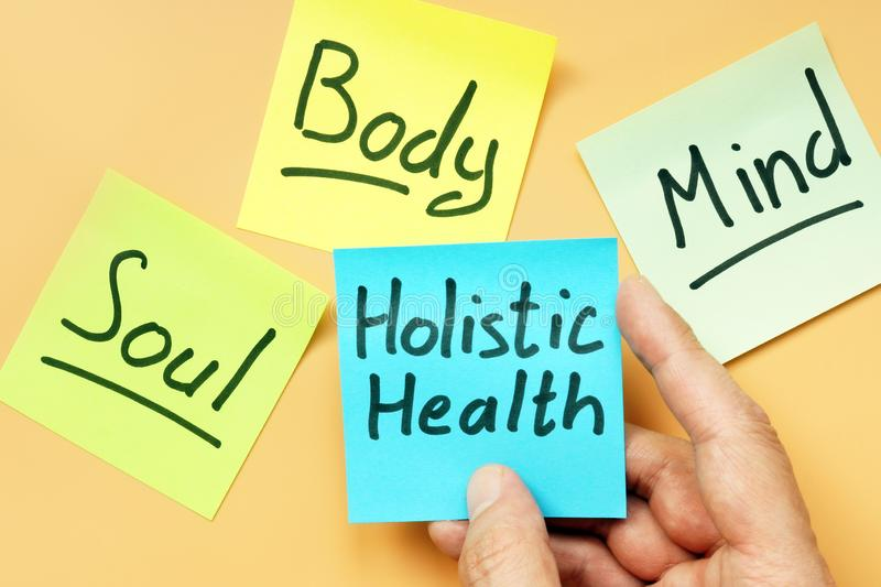Cards holistic health, mind, body and soul stock photo