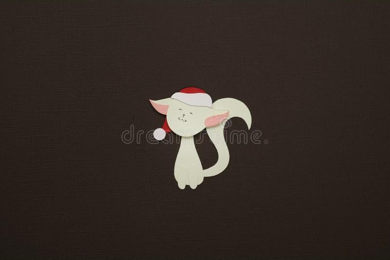 Paper cat applique on texture background stock photos