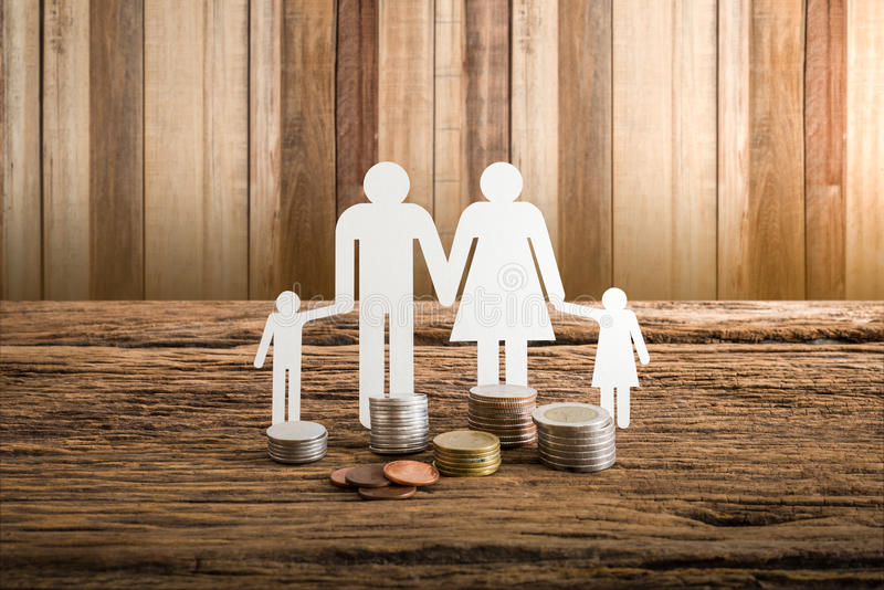 Paper chain family symbolizing. Real estate loan concept stock photo