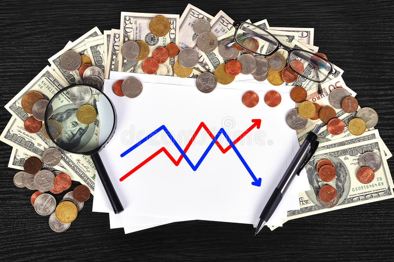 Paper with chart. Money on table and paper with chart vector illustration