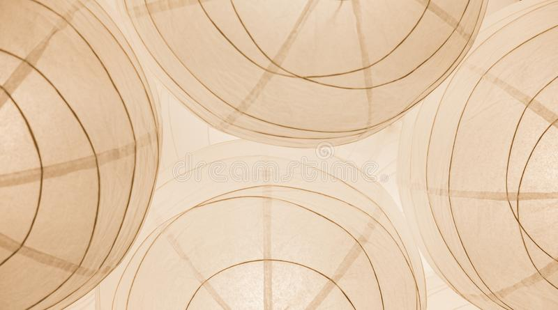 Paper Chinese lamps on the ceiling. Abstract background in white color. stock images