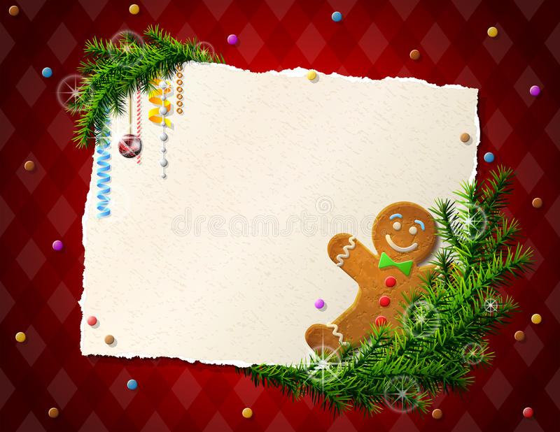 Paper For Christmas List With Gingerbread Man Stock Photography ...