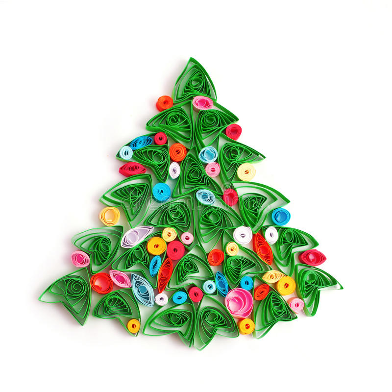 Paper Christmas tree, hand made quilling. vector illustration