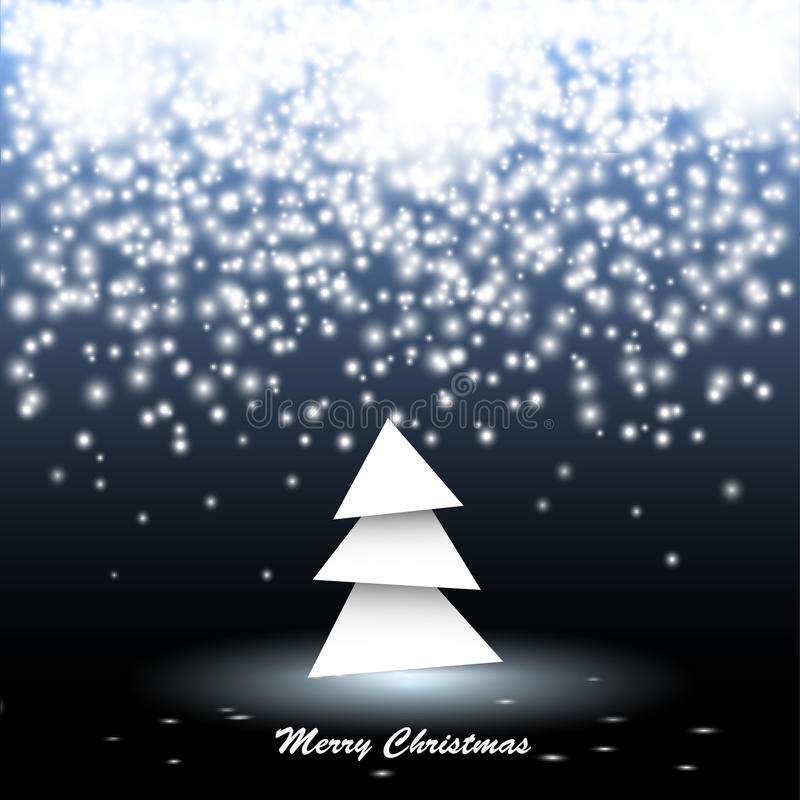 Paper christmas tree with lights vector illustration