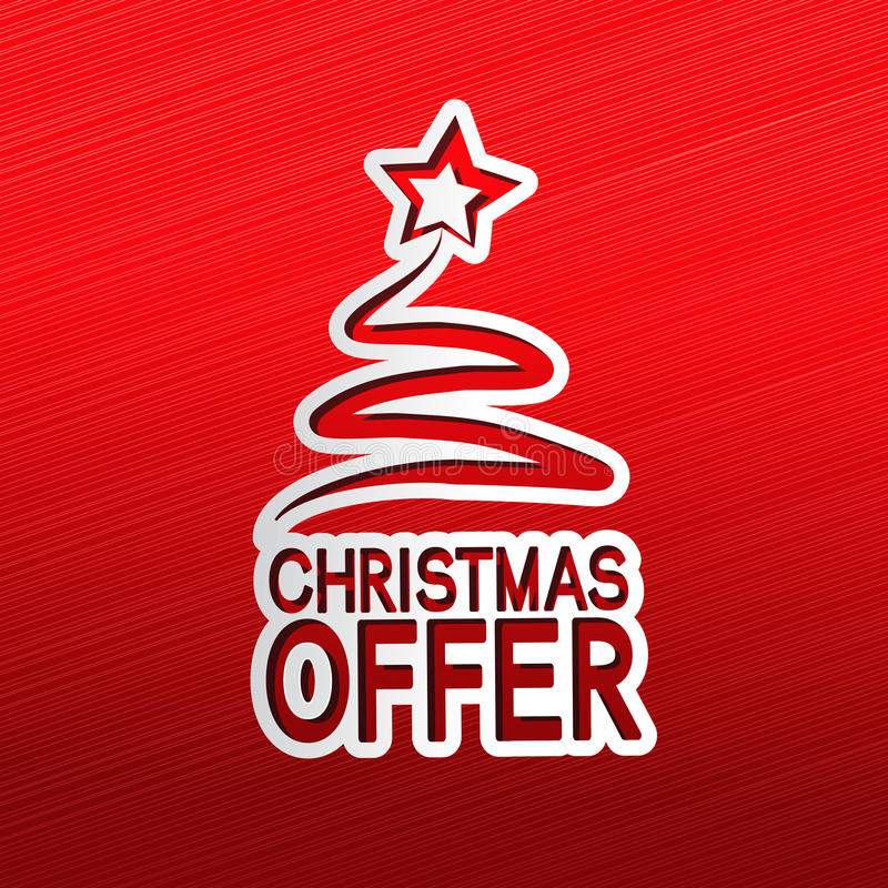 Paper Christmas tree, sticker - Christmas offer vector illustration