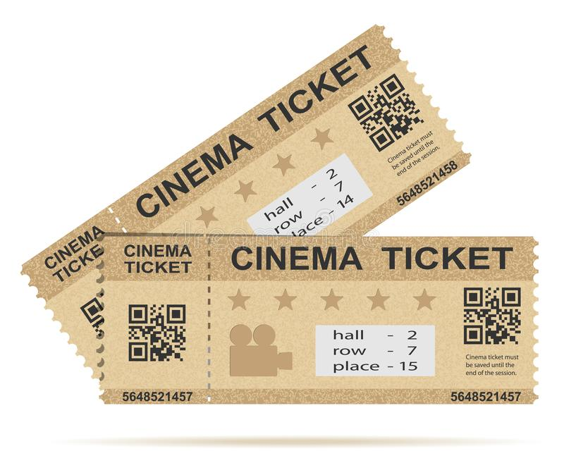 Paper Cinema ticket isolated on white stock illustration