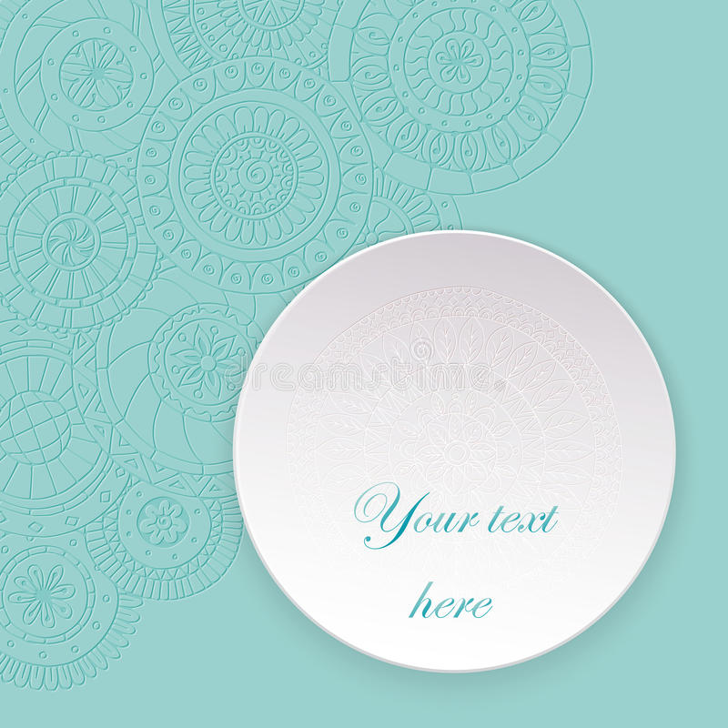Paper circle banner with drop shadows. Vector illustration. Abstract floral doodle background. Lace circle, snowflake on a white plate with shadow royalty free illustration