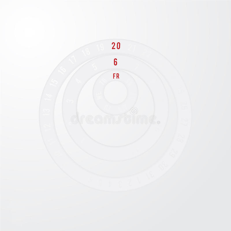 Paper circle universal calendar stock images
