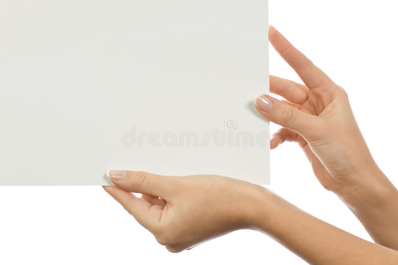 Paper clean sheet in female hands stock images