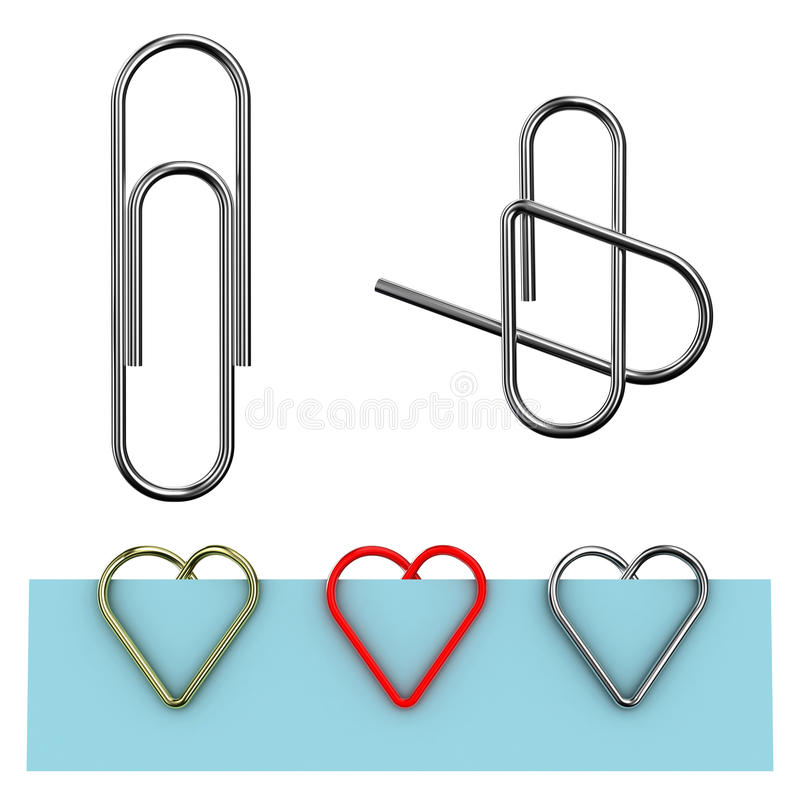 Paper clip. Illustration in the form of heart on a white background vector illustration
