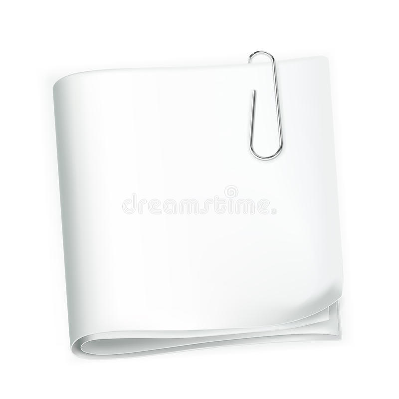 Paper and clip. Computer illustration on a white background stock illustration
