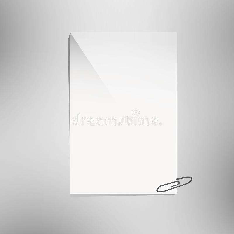 Paper and clip. Close up of a blank paper and clip royalty free illustration