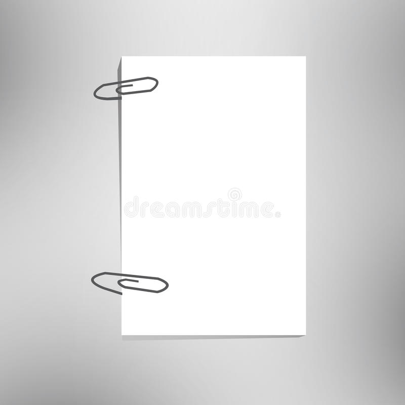 Paper and clip. Close up of a blank paper and clip stock illustration
